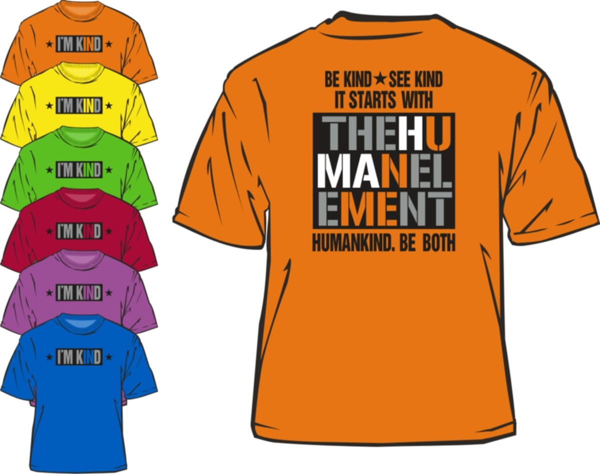 Humankind t-shirts available in various colors